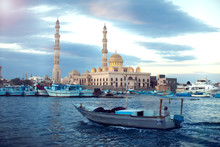 Hurghada, Egypt, December 2018 - The Main Mosque In The Center Of Hurghada
