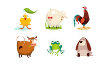 Cute Cartoon Animals Set, Chicken, Sheep, Cock, Cow, Frog, Dog Vector Illustration