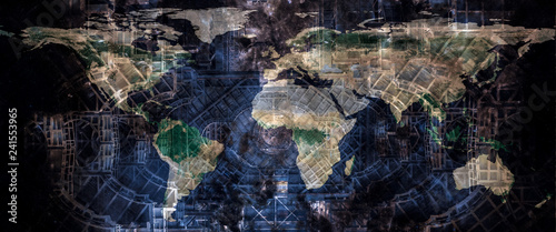 Foto op Canvas Wereldkaart Techno world concept. World map on the abstract futuristic construction design structure background. The elements of this image furnished by NASA.