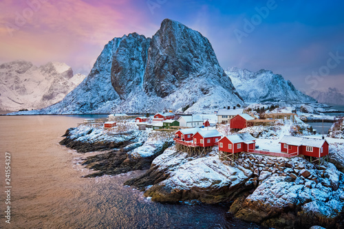 Fotografie, Obraz Hamnoy fishing village on Lofoten Islands, Norway