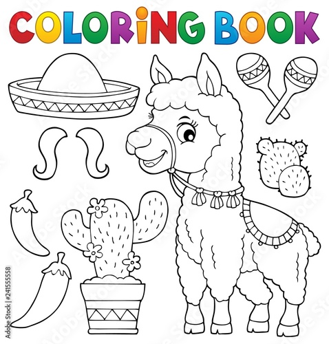 Recess Fitting For Kids Coloring book llama and objects set 1
