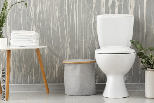 Fotografie, Obraz  Modern interior of restroom with ceramic toilet bowl