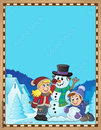 Kids building snowman theme parchment 1