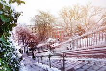 Winter Cityscape Of Paris City...