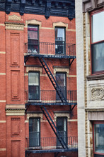 Red Building Fire Escape Stairs
