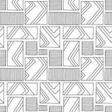 Seamless Vector Pattern. Black And White Geometrical Hand Drawn Background With Rectangles, Squares, Lines. Print For Background, Wallpaper, Packaging, Wrapping, Fabric.