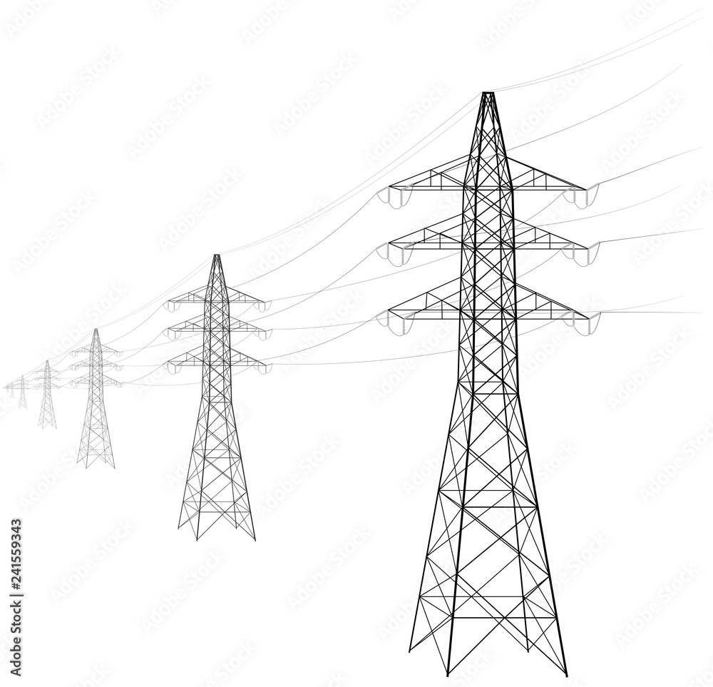 Fototapeta Overhead power line. A number of electro-eaves departing into the distance. Transmission and supply of electricity. Procurement for an article on the cost of electricity or construction of lines.