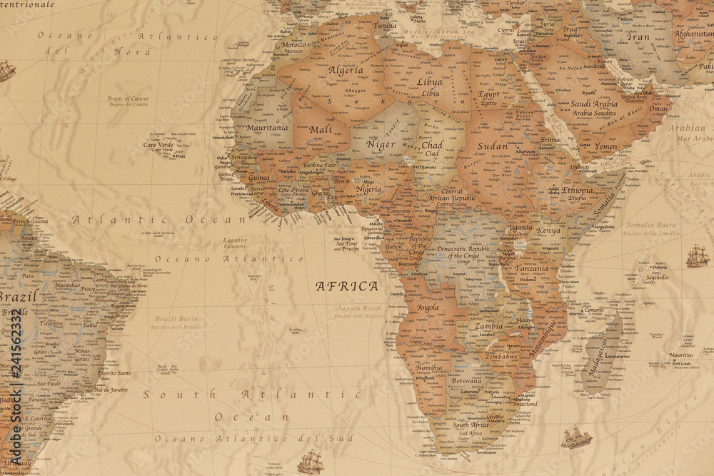 Fototapety, obrazy: Ancient geographic map of Africa with names of the countries