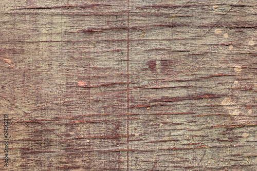 Fotografie, Obraz  Old cracked painted wooden veneer background