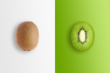 Creative Background, Kiwi And Kiwi Slices On A White And Green Background. Flat Lay, Copy Space, Layout. The Concept Of Nutrition, Fresh Fruit, Natural Products, Juice.