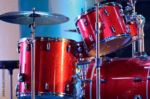 Foto op Canvas Muziekwinkel Close-up of musical drum set is ready to play in a live stage programmed.