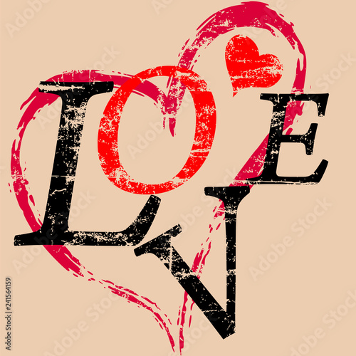 painted heart, love concept with word/letter, grungy style