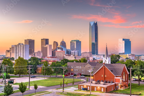 Oklahoma City, Oklahoma, USA downtown skyline at twilight. - 241564355