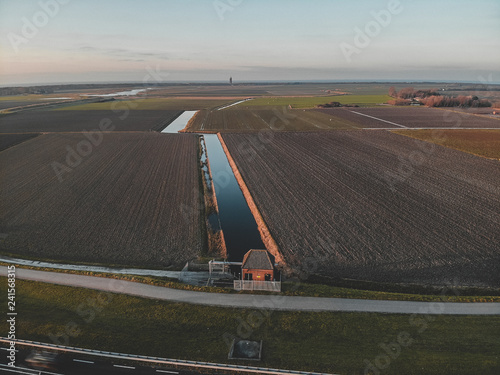 Aerial shot of Goeree-Overflakkee, The Netherlands, Brouwersdam 2019