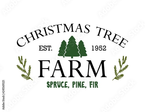 Fotografía Vintage sign for Christmas Tree Farm vector