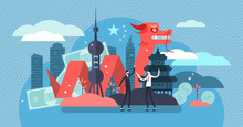 China Economic Growth And Culture Concept, Flat Tiny Persons Vector Illustration