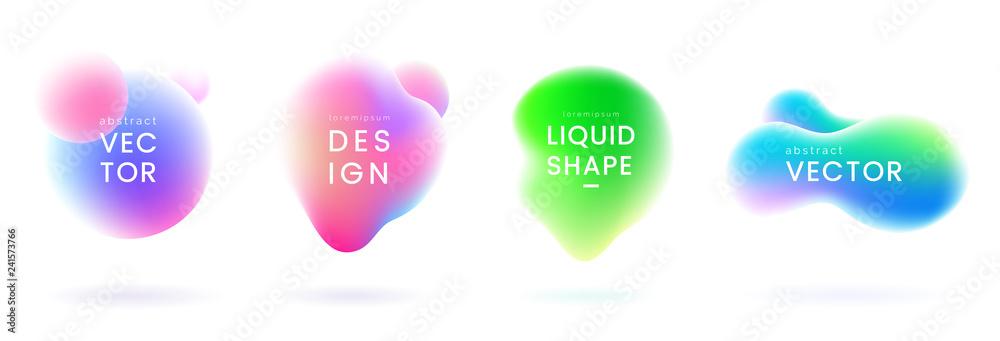 Fototapeta Liquid gradient blobs set. Abstract fluid shapes with chameleon effect. Colorful liquid badges. Decorative elements for your design. Vector eps 10.