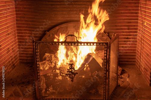 Feu dans l'âtre d'une cheminée, avec sa grille pare-feu et son contre-coeur Wallpaper Mural
