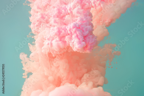 Fotografie, Obraz  Abstract pastel pink color paint with pastel blue background