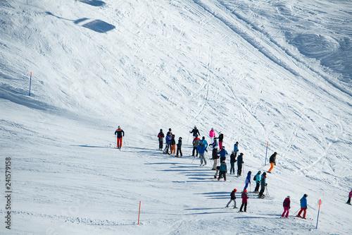 Skisport auf der Bettmeralp, Goms, Wallis, Schweiz