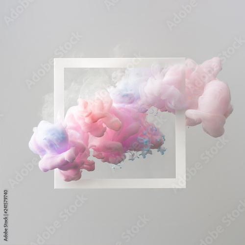 Fotografie, Obraz  Abstract pastel pink and blue color paint with pastel gray background