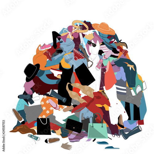 Fotografía  Vector Illustration with a Messy Pile of Dirty Laundry