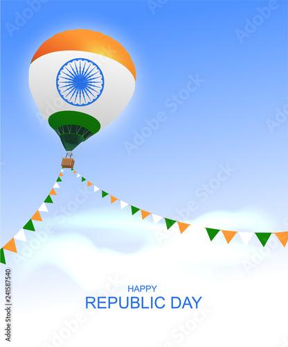 Obraz Happy republic day India greeting card air balloon - fototapety do salonu