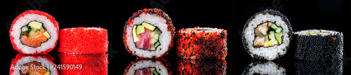 Poster de jardin Sushi bar sushi roll with caviar on a dark background close-up
