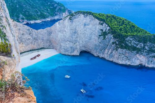 Poster Tropical beach Greece, Zakynthos, Magic navagio beach or shipwreck beach bay in blue hour mood