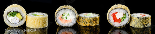 baked hot sushi rolls on a dark background. Hot fried Sushi Roll Sushi menu