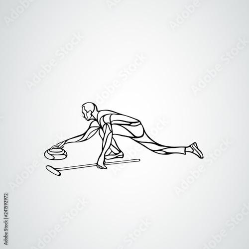 Curling athlete isolated vector silhouette. Curler vector Fototapeta