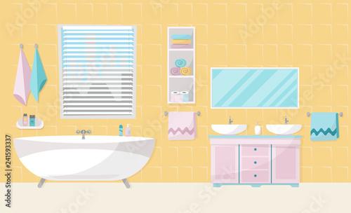 Modern Bathroom Interior With Tub Furniture Bath Stand Two Sinks