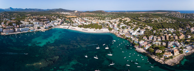 Aerial view, view of Santa Ponca and the marina, behind the Serra de Tramuntana, Mallorca, Balearic Islands, Spain