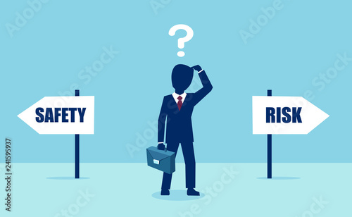 Foto Vector of a business man with question feeling confused at crossroads