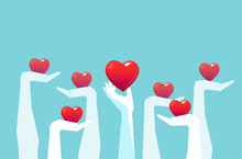 Vector Of Raised Hands Holding Giving Red Color Hearts Isolated On Light Blue Background.