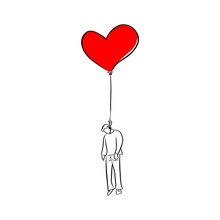 Man Hanged On Red Heart Shape Balloon Vector Illustration Sketch Doodle Hand Drawn With Black Lines Isolated On White Background. Broken Heart Man.