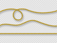 Realistic Golden Beads Isolated On Transparent Background. Decorative Elements For Holiday Design, Mardi Gras Carnival. Vector Illustration.