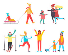Winter Activity And Active Lifestyle Set Vector