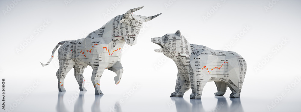 Fototapety, obrazy: Bulle und Bär aus Börsen-Zeitungspapier
