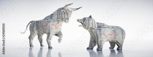 Fotomural  Bulle und Bär aus Börsen-Zeitungspapier