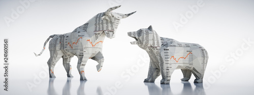 Fototapeta Bulle und Bär aus Börsen-Zeitungspapier obraz