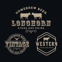 Antique Frame Border Label Engraving Retro Country Emblem Typography For Western Bar/Restaurant Logo Design  Inspiration. Elements Business Sign Hipster Logo Identity