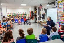 Teacher Teaching A Classroom Full Of Children