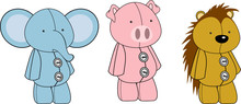Cute Animals Plush Toy Cartoons Collection Set In Vector Format Very Easy To Edit