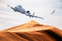 Two American Warplanes Flies Over A Desert