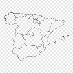 Blank map Spain. High quality map Spain with provinces on transparent background for your web site design, logo, app, UI. Stock vector. Vector illustration EPS10.