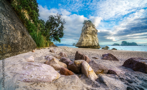 Foto op Canvas Cathedral Cove sandstone rock monolith behind stones in the sand at cathedral cove, new zealand 2
