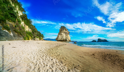 panorama of sandstone rock monolith at cathedral cove,coromandel, new zealand