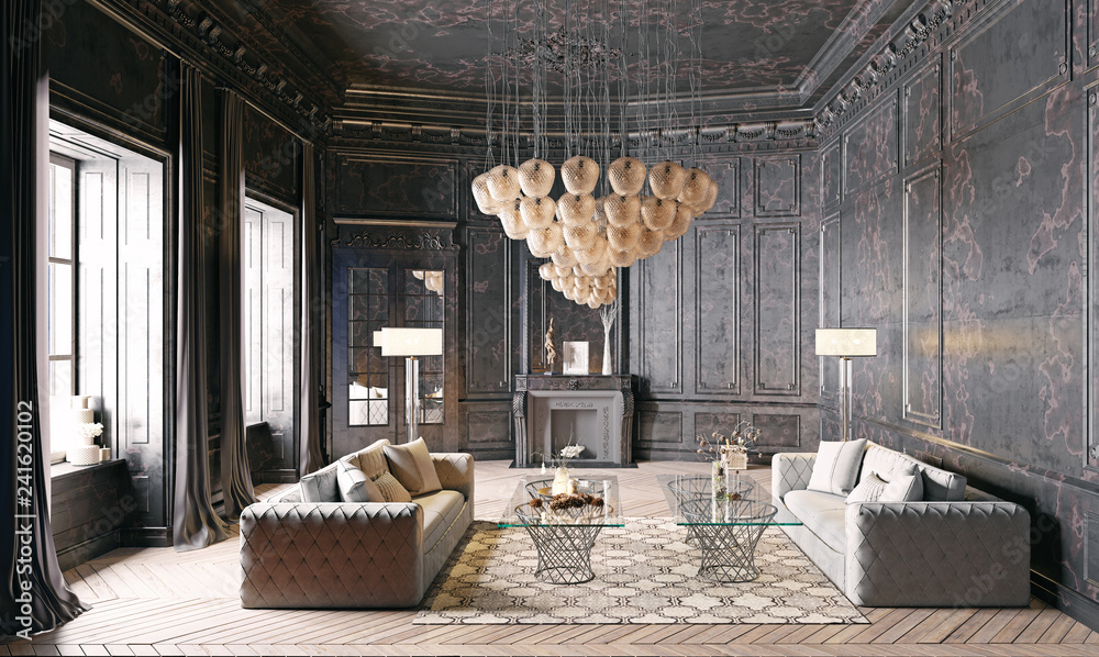 Fototapety, obrazy: modern luxury black interior.
