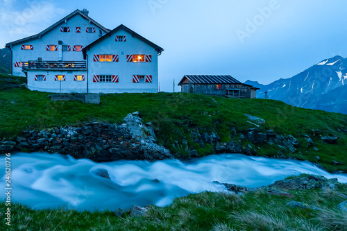 One of the mosty beautiful mountains cottage in Austrian Alps, Stubai Mountains, Tyrol, New Regensburger mountain hut